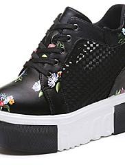 Damer Sko PU Sommer Komfort Sneakers Creepers Rund Tå Snøring Til Afslappet Hvid Sort