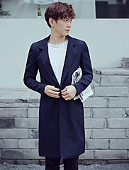 Masculino Terno Casual Simples Outono Inverno,Sólido Longo Poliéster Colarinho de Camisa Manga Longa