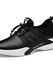 Masculino sapatos Couro Ecológico Primavera Outono Conforto Tênis Corrida Cadarço Para Atlético Branco Preto
