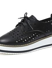 レディース 靴 レザー 夏 コンフォートシューズ オックスフォードシューズ クリーパーズ ラウンドトウ 編み上げ 用途 カジュアル ホワイト ブラック