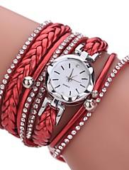 女性用 ファッションウォッチ ブレスレットウォッチ ダミー ダイアモンド 腕時計 中国 クォーツ 模造ダイヤモンド PU バンド ボヘミアンスタイル カジュアルスーツ エレガント腕時計 ブラック 白 ブルー レッド ピンク ベージュ