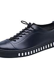 Masculino sapatos Couro Ecológico Primavera Outono Conforto Tênis Cadarço Para Casual Branco Preto Azul