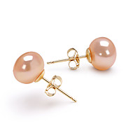14k Gold Pink 7.5-8mm AAA Freshwater Pearl EarringImitation Diamond Birthstone
