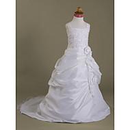 Lanting Bride A-line / Ball Gown / Princess Court Train Flower Girl Dress - Organza / Satin Sleeveless Spaghetti Straps withAppliques /