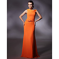 Prom / Formal Evening / Military Ball Dress - Plus Size / Petite Sheath/Column Cowl Floor-length Chiffon