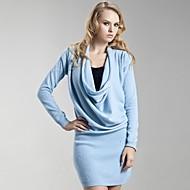 ts drapeado capota pescoço vestido suéter de cashmere (5 cores)