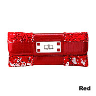 Women Satin Minaudiere Tote / Clutch / Evening Bag - Red