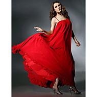 TS Couture Formeller Abend Kleid - Offener Rücken Promi-Stil A-Linie Spaghetti-Träger Boden-Länge Chiffon Charmeuse mit Rüschen