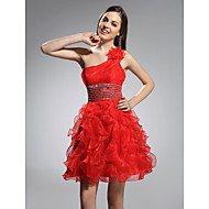 Cocktail Party/Prom/Holiday/Sweet 16 Dress - Ruby Plus Sizes A-line/Princess One Shoulder Short/Mini Organza