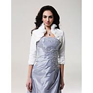 결혼식 랩 코트 / 재킷 3/4 길이 소매 태피터 아이보리 웨딩 하이넥 러플 오픈 프론트