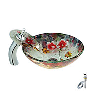 Flower Round Tempered glass Vessel Sink With Waterfall Faucet, Mounting Ring and Water Drain(0888-C-BLY-6544-WF)