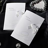 מדגם הזמנה אלגנטית בסגנון מקופלת חתונה עם קשת סרט (סט אחד)