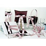 Shimmering Gold Wedding Collection Set In Chocolate Satin With Ribbon And Pearl (8 Pieces)