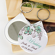 personlig spegel nyckelring - grön blomma (sats om 12)