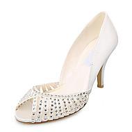 elegante raso superiore a spillo tacco peep toe con le scarpe da sposa strass