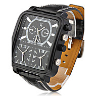 V6® Argus Panoptes - Men's Watch Military Triple-Movement Square Dial Leather Strap Cool Watch Unique Watch Fashion Watch