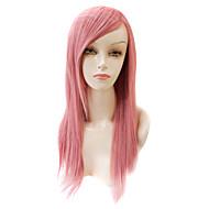 монолитным длинных прямых синтетических розовый парик волосы партия