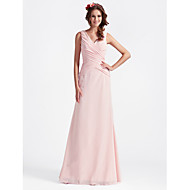 Floor-length Chiffon Bridesmaid Dress - Blushing PinkPlus Sizes / Hourglass / Pear / Misses / Petite / Apple / Inverted Triangle /