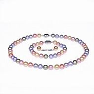 Single Strand AA+ Pearl Necklace, Bracelet & Earring Set (More Colors)