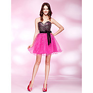 Cocktail Party / Homecoming / Prom Dress - Plus Size / Petite A-line / Princess Strapless / Sweetheart Short/MiniTulle / Stretch Satin /
