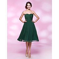 Homecoming Cocktail Party/Holiday/Wedding Party Dress - Dark Green Plus Sizes A-line/Princess Strapless/Sweetheart Knee-length Chiffon