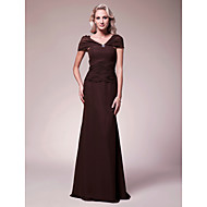 Lanting Sheath/Column V-neck Floor-length Chiffon Mother of the Bride Dress