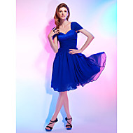 TS Couture® Cocktail Party Dress - Royal Blue Plus Sizes / Petite A-line / Princess Off-the-shoulder / Sweetheart Knee-length Chiffon / Stretch Satin