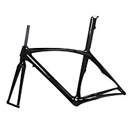 700C Full Carbon Feather Light Road Bike Frame with Rigid Fork Integrated Seatpost Natural Color