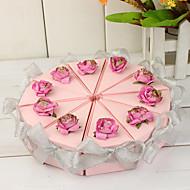 실버 리본과 분홍색 케이크 슬라이스 상자 (10 세트)