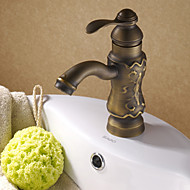 Traditional Centerset Ceramic Valve Single Handle One Hole with Antique Copper Bathroom Sink Faucet