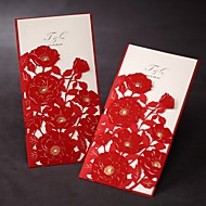 Tri-fold Wedding Invitation With Red Poppies Cut-out Sleeve (Set of 50)