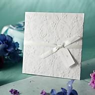 White Embossed Spring Flowers Wedding Invitation (Set of 50)
