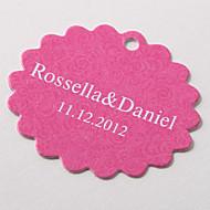 tag personalizado scalloped favor - rosa barroco (conjunto de 60)