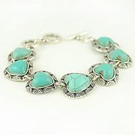 turkos och silverlegering hjärtat charm växla armband