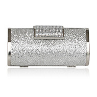 Handbags/ Clutches In Silver Satin With Crystal/Rhinestone