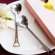 amantes de los corazones de acero inoxidable cuchara de favores de la boda del (juego de 2)