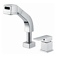 Contemporary Pull-out/Pull-down Deck Mounted Pullout Spray with  Ceramic Valve Single Handle Two Holes for  Chrome , Kitchen faucet