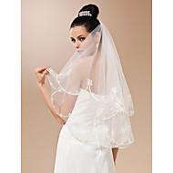 Wedding Veil One-tier Fingertip Veils Cut Edge 47.24 in (120cm) Tulle White