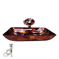 Contemporary 1.2*56*36*11 Rectangular Sink Material is Tempered Glass Bathroom Mounting Ring Kitchen Water Drain