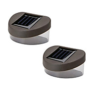 Set of 2 Warm Yellow Deck And Fence Wall Mount Solar Lights