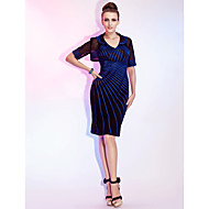 Cocktail Party / Wedding Party Dress - Short Sheath / Column V-neck Knee-length Tulle / Stretch Satin with Ruching / Side Draping