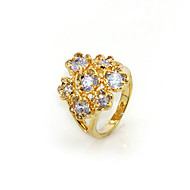 Gorgeous Cubic Zirconia Platinum Plated Flower Shape Fashion Ring