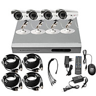 Precio ultra bajo kit CCTV DVR 4 Canalesl (H.264, 4 cámaras exterioresde colores resistentes al agua)
