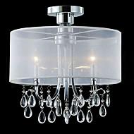 stilig krystall innfelt med 3 lamper i stoff skyggen