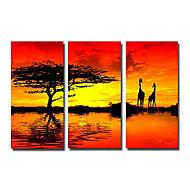 Kézzel festett Landscape Három elem Vászon Hang festett olajfestmény For lakberendezési