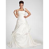 Lanting Bride® A-linje Petit / Plus Størrelser Brudekjole - Klassisk og tidsløs Efterår 2013 Kapelslæb Etskuldret Satin med