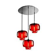 moderne glass anheng lys med 3 lamper i gjennomsiktig flaske utforming