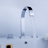 Široká baterie Dvěma uchy tři otvory in Pochromovaný Koupelna Umyvadlová baterie