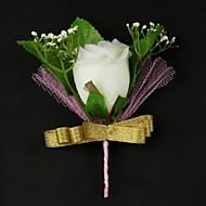 fiori da sposa in raso / cotone a forma libera boutonniere uomini