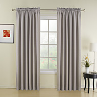 New Style Grey Solid Polyester Curtains Drapes